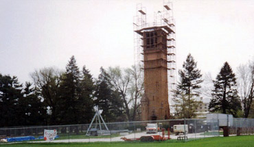 ISU campanile under construction in Ames, Iowa