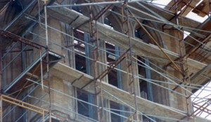 steel reinforcement behind the ISU campanile facade
