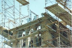 scaffolding atop the ISU Campanile reconstruction project