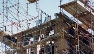 scaffolding atop the Campanile