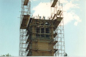 scaffolding above the base of the ISU campanile