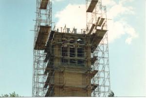 scaffolding above the base of the ISU campanile